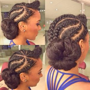 Cornrow side up do with Kinky Hair