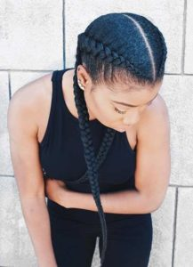 Two row classic corn rows with Kinky Hair